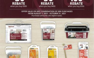 GRK Fasteners Exclusive August 2021 Rebate Offer!